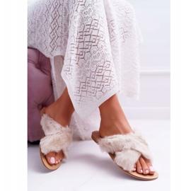 Pantuflas De Mujer Con Piel Lu Boo Pimmer Blanco 4
