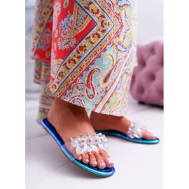 Zapatillas de mujer con circonita cúbica Lu Boo Gas Blue Median azul 2