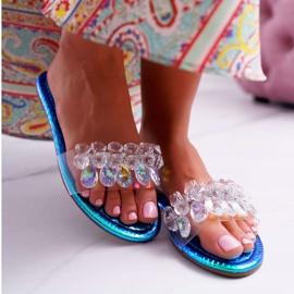 Zapatillas de mujer con circonita cúbica Lu Boo Gas Blue Median azul 3