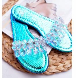 Zapatillas de mujer con circonita cúbica Lu Boo Gas Blue Median azul 5