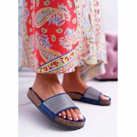 SEA Zapatillas de mujer en corcho con cristales azul marino ¡Hazlo! marina 1