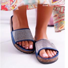 SEA Zapatillas de mujer en corcho con cristales azul marino ¡Hazlo! marina 2