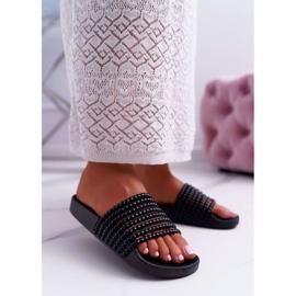 Zapatillas de mujer con cuentas Elavi negras negro 2