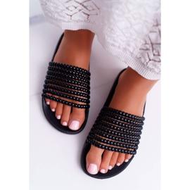 Zapatillas de mujer con cuentas Elavi negras negro 4