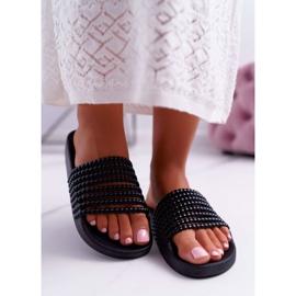 Zapatillas de mujer con cuentas Elavi negras negro 3