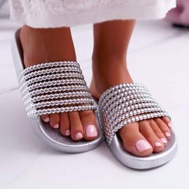 Zapatillas de mujer con cuentas plateadas Elavi gris 2