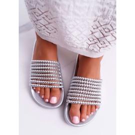 Zapatillas de mujer con cuentas plateadas Elavi gris 3