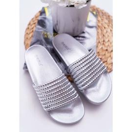 Zapatillas de mujer con cuentas plateadas Elavi gris 5
