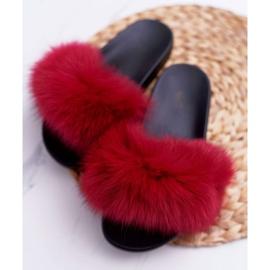 Pantuflas de mujer con pelaje natural Naturis rojo 5