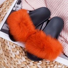 Pantuflas de mujer con pelaje natural Naranja Naturis 1