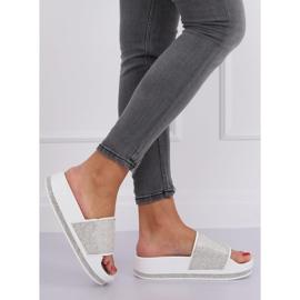 Zapatillas blancas en suela gruesa N-59 Blanco gris 3