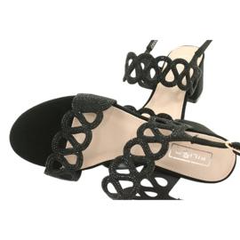 Sandalias negras con circonita cúbica Filippo DS1355 / 20 BK negro 4