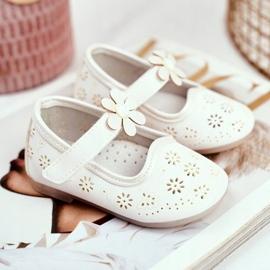 Apawwa Mocasines Infantiles Velcro Flor Blanco Floreado 3