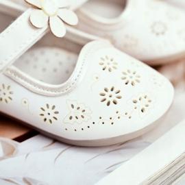 Apawwa Mocasines Infantiles Velcro Flor Blanco Floreado 4