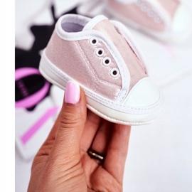 Apawwa Zapatillas de velcro para bebé con brillo bautizo rosa Milley 1