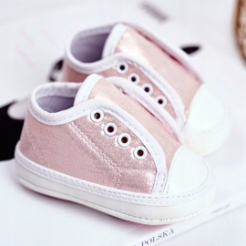 Apawwa Zapatillas de velcro para bebé con brillo bautizo rosa Milley 2