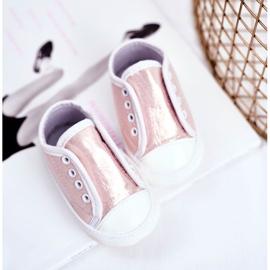 Apawwa Zapatillas de velcro para bebé con brillo bautizo rosa Milley 3