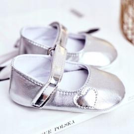 Apawwa Bautismo Baby Velcro Zapatillas de deporte Bellawa Silver gris 2