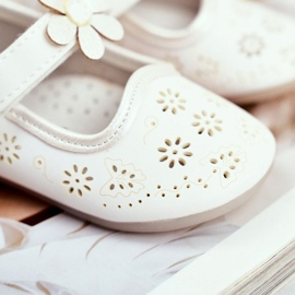 Apawwa Mocasines Infantiles Velcro Flor Blanco Floreado 2