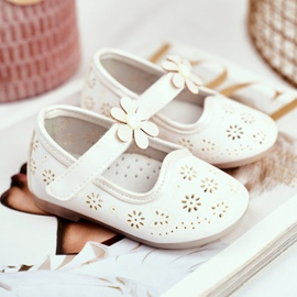 Apawwa Mocasines Infantiles Velcro Flor Blanco Floreado 1