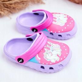Zapatillas de niños Crocs de espuma Ponis violetas Poni púrpura 1
