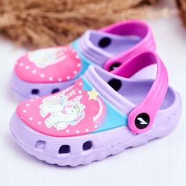 Zapatillas de niños Crocs de espuma Ponis violetas Poni púrpura 3