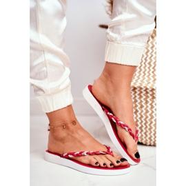 SEA Pantuflas para mujer Chanclas Cinturón trenzado Peggie rojo 1