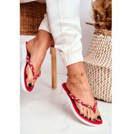 SEA Pantuflas para mujer Chanclas Cinturón trenzado Peggie rojo 2
