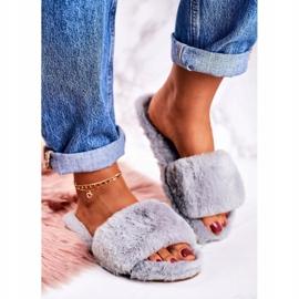 FRJ Pantuflas de piel para mujer Grey Cold Days gris 1