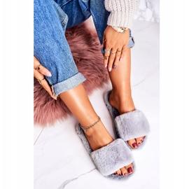 FRJ Pantuflas de piel para mujer Grey Cold Days gris 2