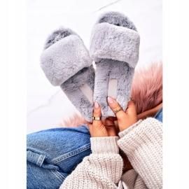 FRJ Pantuflas de piel para mujer Grey Cold Days gris 3