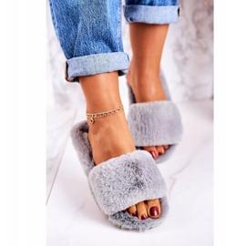 FRJ Pantuflas de piel para mujer Grey Cold Days gris 4