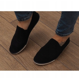 Zapatos deportivos negros sin cordones Lycra D16M 1