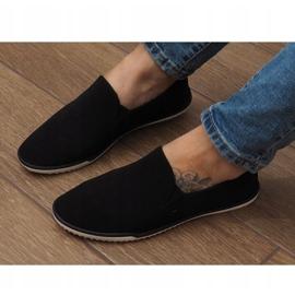 Zapatos deportivos negros sin cordones Lycra D16M 3
