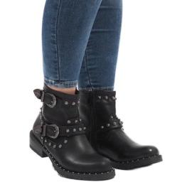 Botas negras con broches y lentejuelas A8018 negro 1