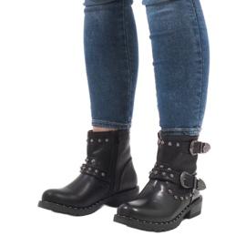 Botas negras con broches y lentejuelas A8018 negro 5