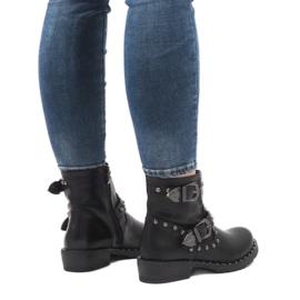 Botas negras con broches y lentejuelas A8018 negro 2