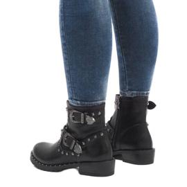 Botas negras con broches y lentejuelas A8018 negro 3