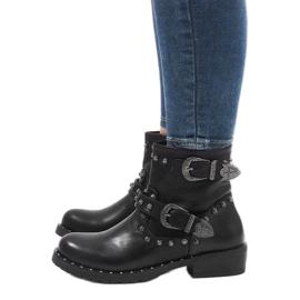 Botas negras con broches y lentejuelas A8018 negro 4