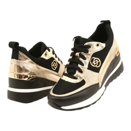 Evento Zapatos deportivos con cuña para mujer 21PB35-4001 Black Gold Roxette negro dorado 3