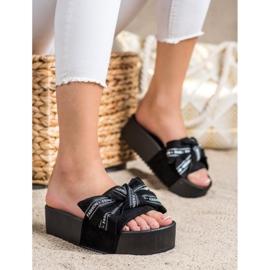 SHELOVET Zapatillas con lazo de moda negro 1
