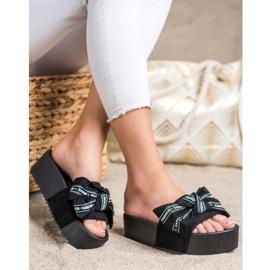 SHELOVET Zapatillas con lazo de moda negro 3