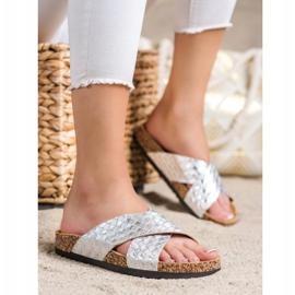 Bona Zapatillas cómodas con cuero ecológico plata 3