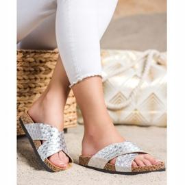 Bona Zapatillas cómodas con cuero ecológico plata 2