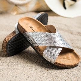 Bona Zapatillas cómodas con cuero ecológico plata 1