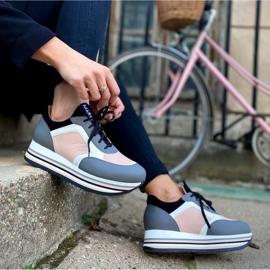 Marco Shoes Zapatillas ligeras sobre suela gruesa de piel natural gris 8