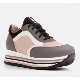 Marco Shoes Zapatillas ligeras sobre suela gruesa de piel natural gris 1