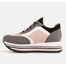 Marco Shoes Zapatillas ligeras sobre suela gruesa de piel natural gris 3