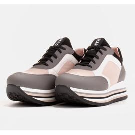 Marco Shoes Zapatillas ligeras sobre suela gruesa de piel natural gris 4