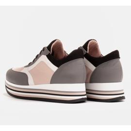 Marco Shoes Zapatillas ligeras sobre suela gruesa de piel natural gris 5